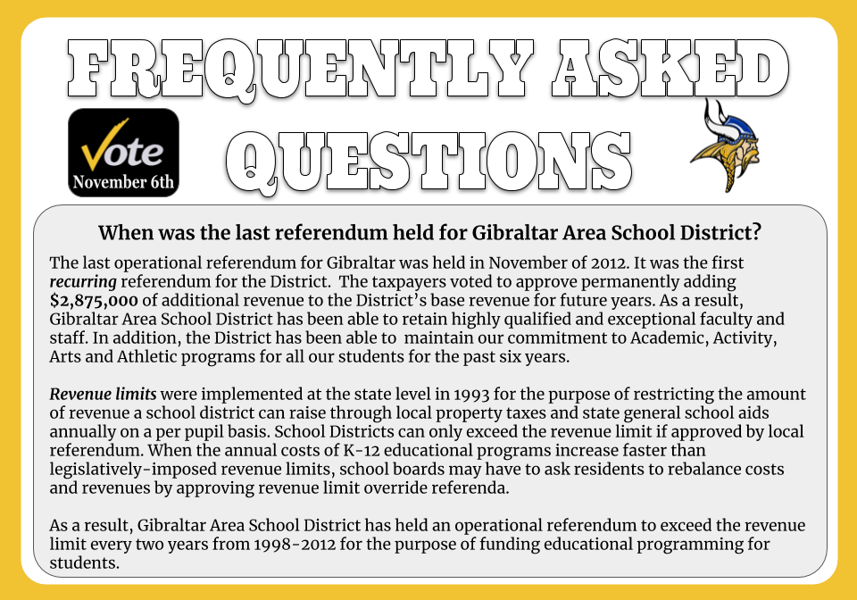 What was the last referendum held for Gibraltar Area School District?