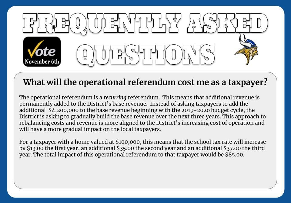 What will the operational referendum cost me as a tax payer?